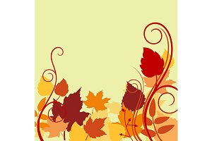 Autumnal background with colorful le