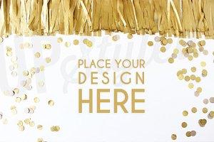 A115 Gold Confetti Mock Up