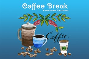 Coffee Break Watercolor Illustration