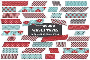 Soft Aqua Blue & Red Washi Tapes