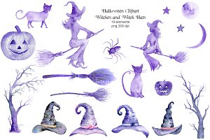 Watercolor Clipart Halloween Witch