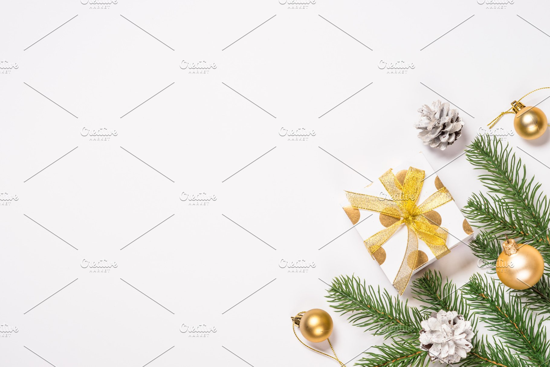 White Christmas Background.Christmas Flat Lay Background With G