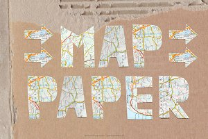Map Paper handmade letters