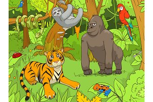 Jungle cartoon animals 01