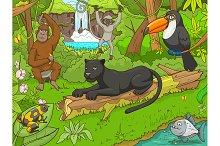 Jungle cartoon animals 02