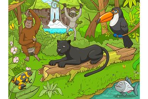 Jungle cartoon animals 02