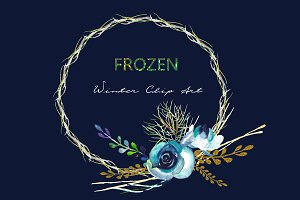 Frozen. Winter watercolor Clipart.