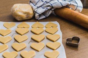 Baking homemade butter cookies