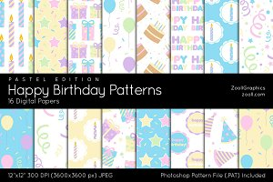 Happy Birthday Pastel Digital Papers