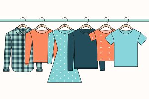 Clothes on Hangers Illustration Set