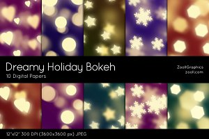 Dreamy Holiday Bokeh Digital Papers