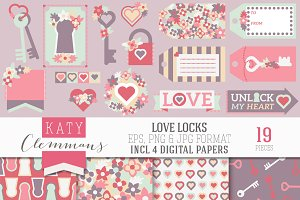 Love Locks clip art - JPG, EPS, PNG