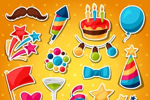 Show and party celebration stickers.