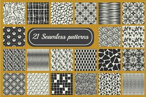Set of 21 seamless  patterns