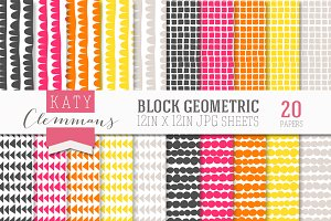 Block Geometric digital paper pack