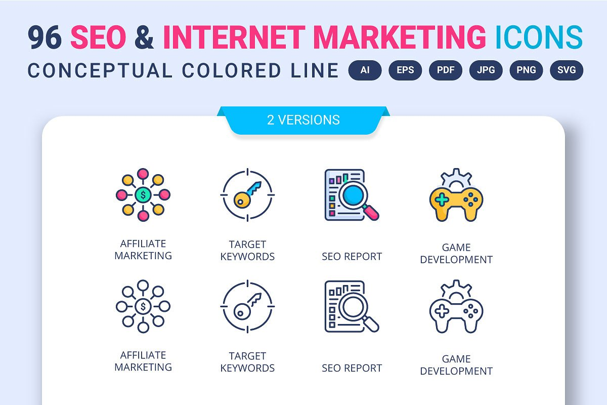 96 SEO and Internet Marketing Icons
