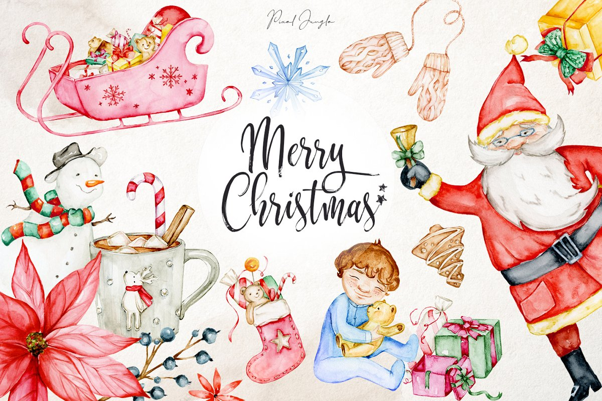 Christmas Graphics Png.Christmas Watercolor Clipart Png Graphic Objects