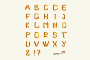 Origami Alphabet Letters. Paper