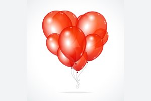 Color Glossy Balloons Heart Red