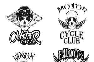 Vector set of vintage bikers logo.