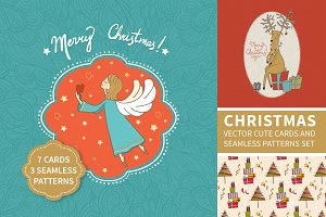 Cristmas vector cards and patterns