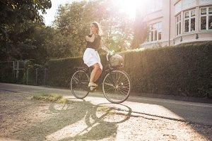Woman enjoying bicycle ride