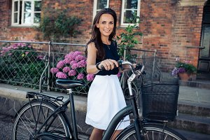 Beautiful woman with a bicycle
