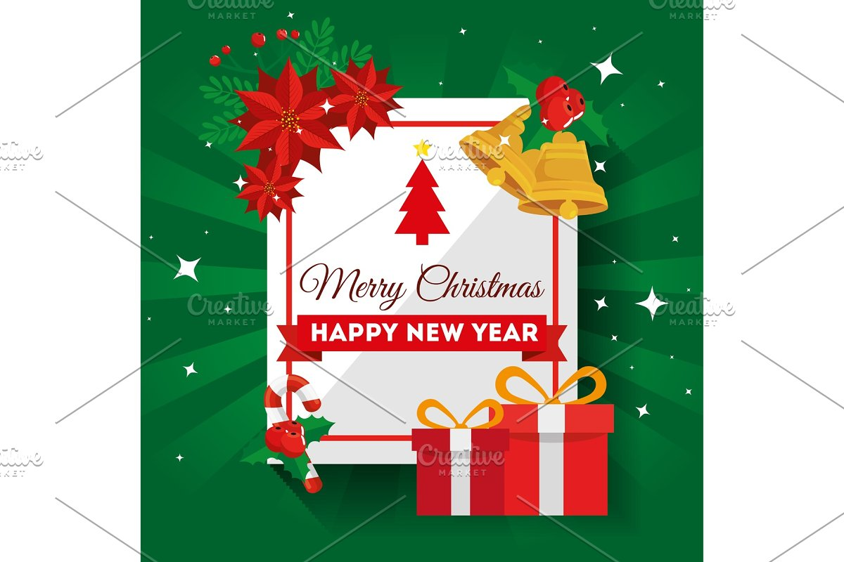 Christmas Graphics Vector.Merry Christmas Card With Gift Boxes