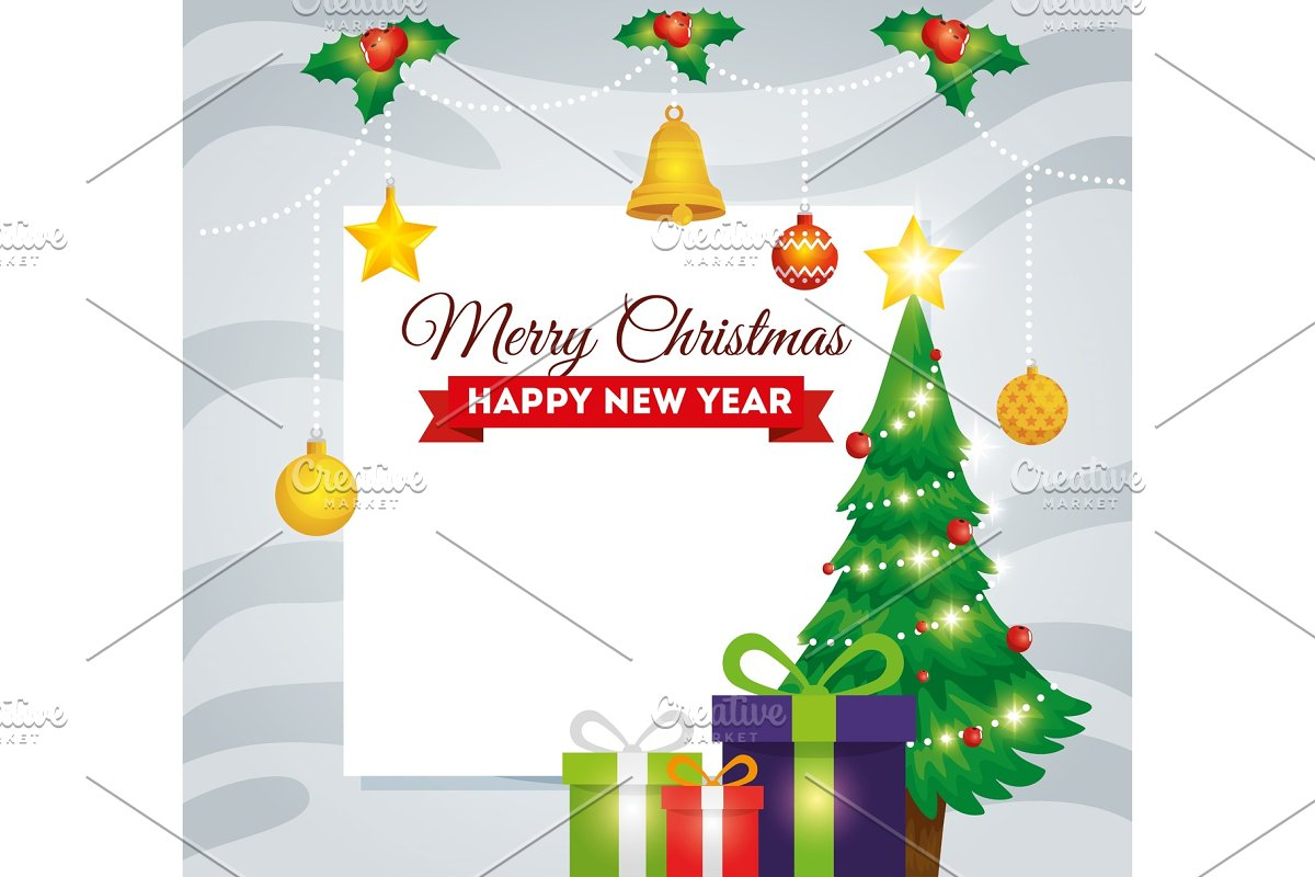 Merry Christmas Picture.Merry Christmas Card With Pine Tree