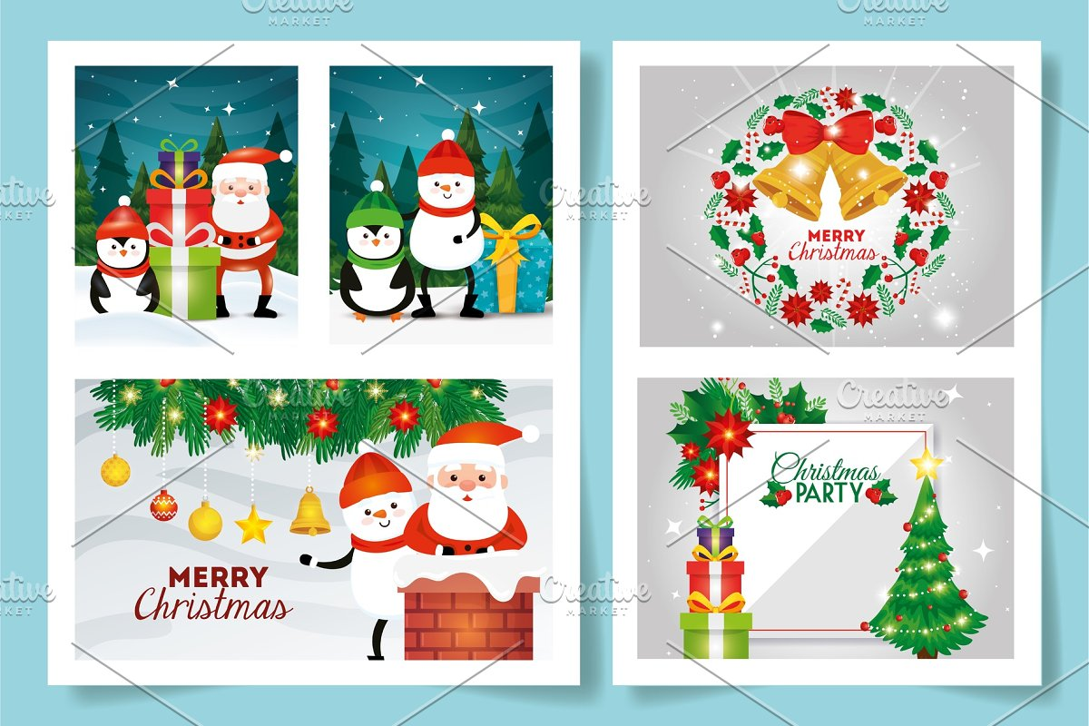 Merry Christmas Image.Set Of Merry Christmas Cards With