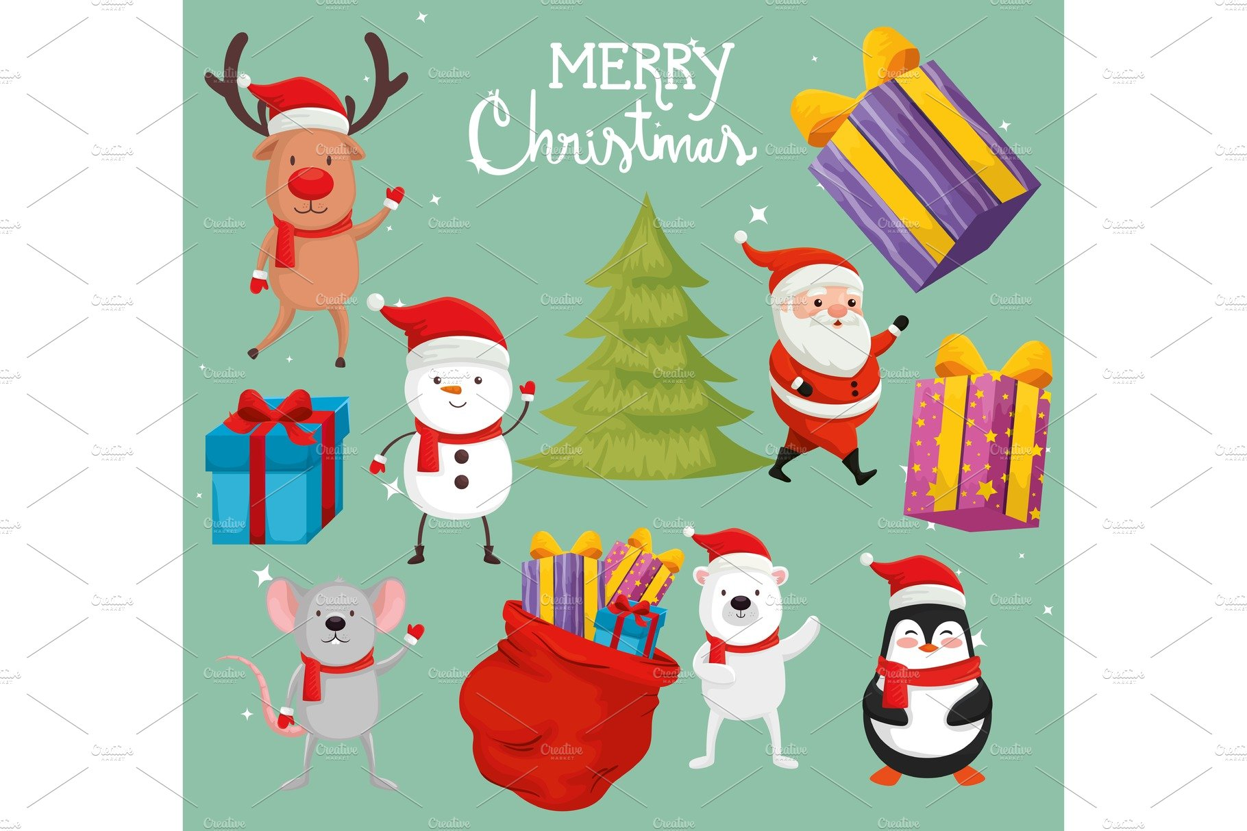 Merry Christmas Illustration.Set Of Characters Merry Christmas