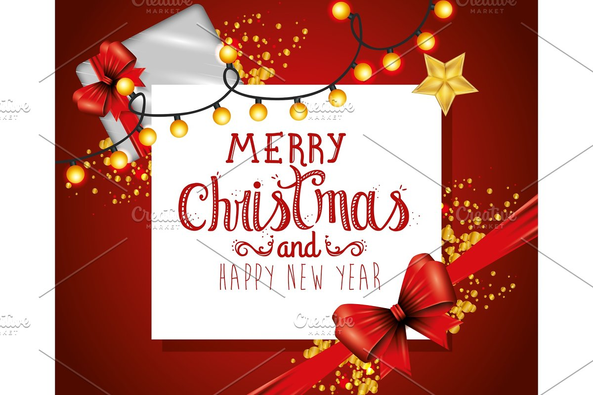 Merry Christmas Card.Merry Christmas Card With Bow Ribbon