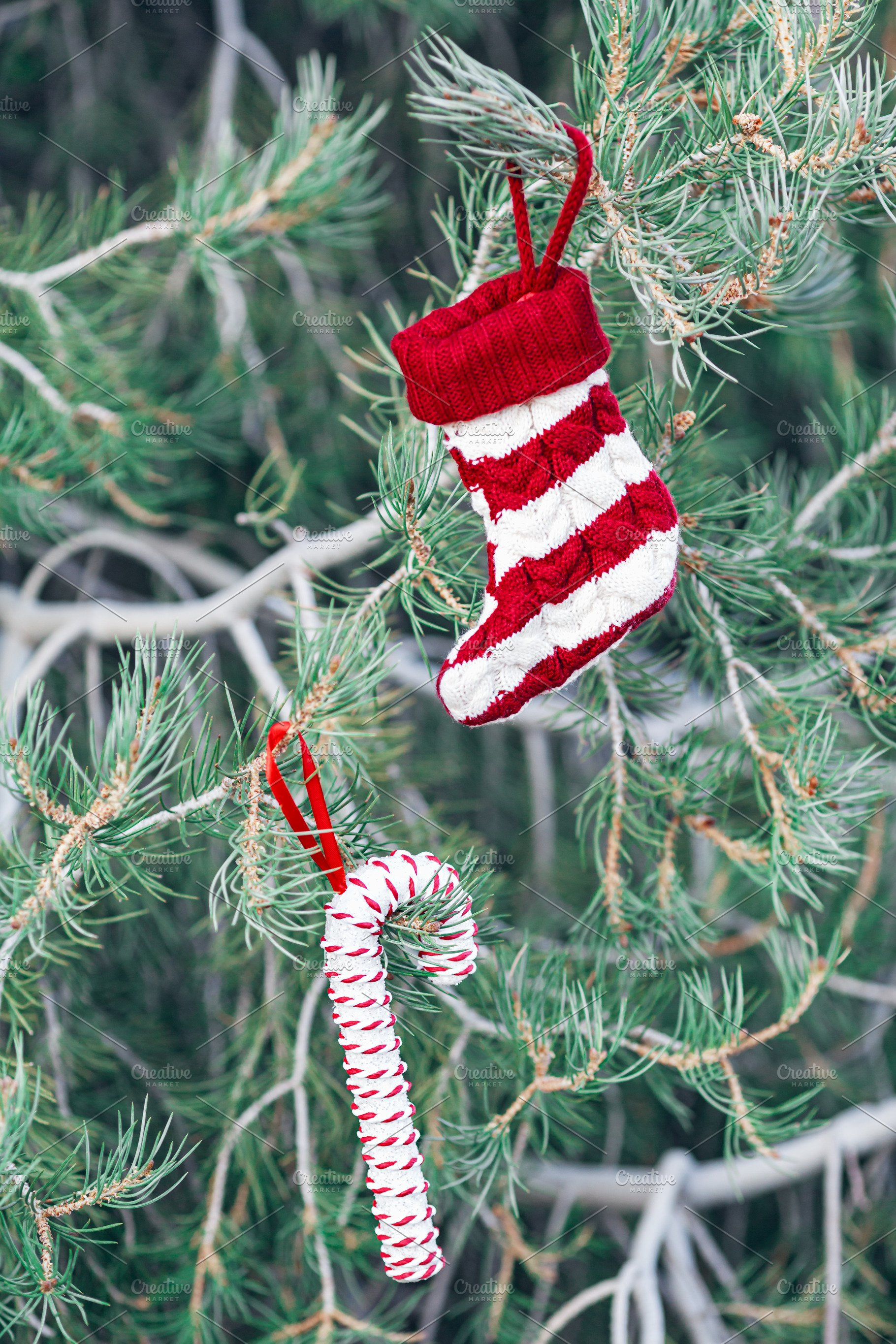 Candy Christmas.Christmas Sock And Candy Cane