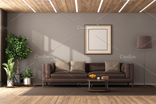 Modern living room with brown sofa a ~ Architecture Photos ...