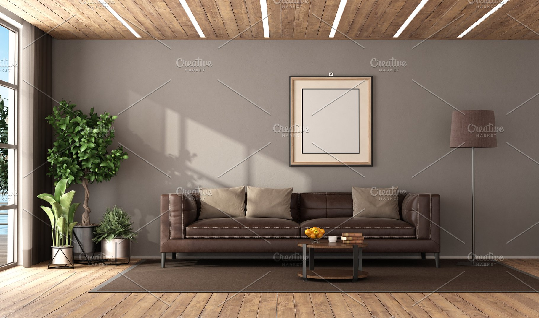 Modern living room with brown leathe