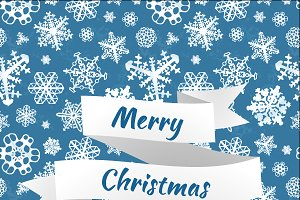 Merry christmas card with snowflakes