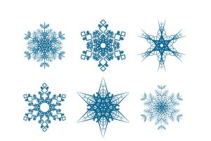 Set of nine snowflakes icons