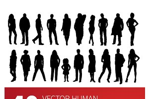 40 vector people silhouettes