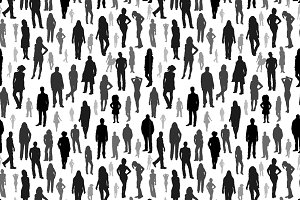 A large group of people silhouettes