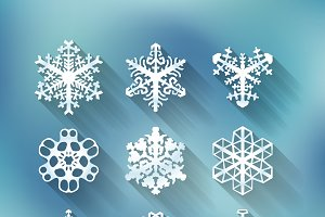 Set of nine different snowflakes