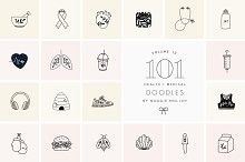 101 Hand Drawn Logo Elements Health