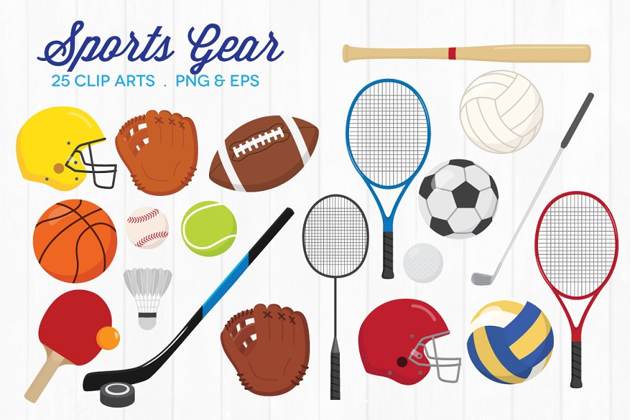 Sports equipment. Gear clip art