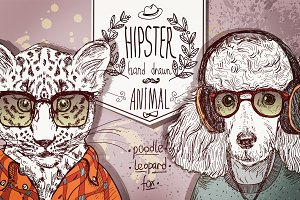 Hipster animals - set 1