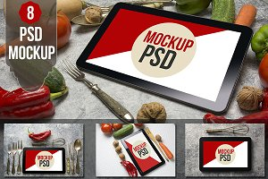 PSD Mockup tablet food