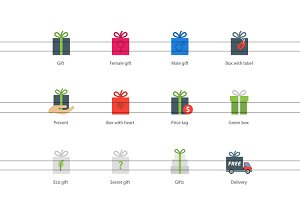 Present boxes color icons