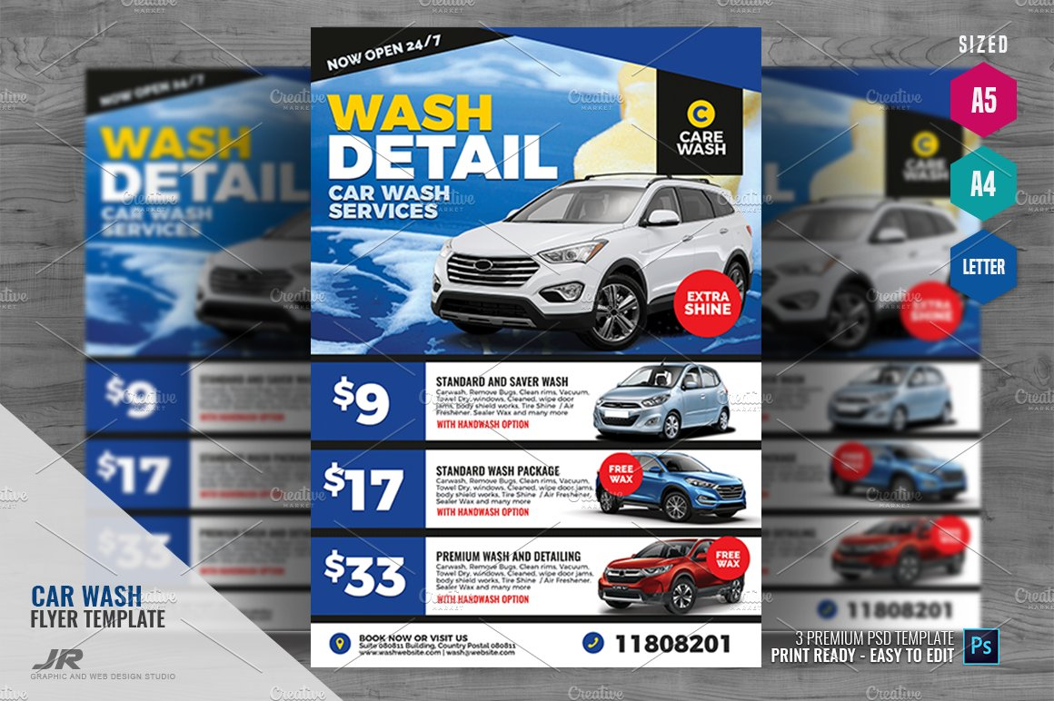 Car Wash And Detailing Flyer Creative