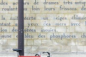 Le Bateau Ivre poem on Paris wall