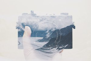 double exposure camera and landscape