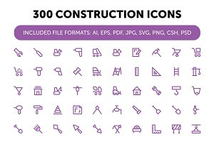 300 Construction Icons Set