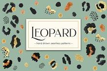 Leopard. Hand Drawn Seamless Pattern